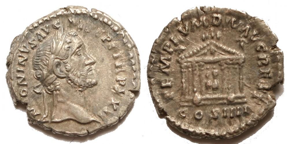 Római Birodalom Antoninus Pius 138-161 denár Divus Augustus és Livia temploma R!
