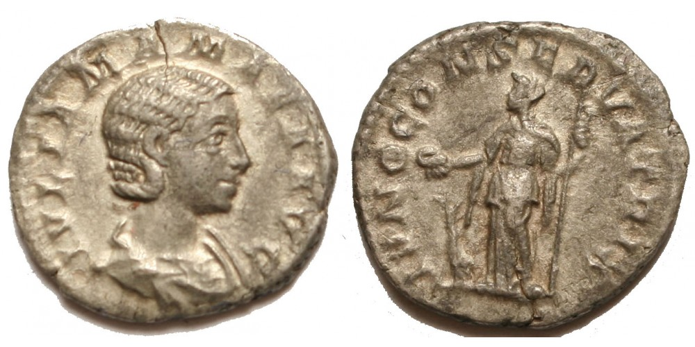 Római Birodalom Julia Maesa 218-224/5 denár, Iuno Conservatorix