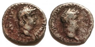 Római Birodalom Nero és Divus Claudius 54-68 drachma Caesarea RR!