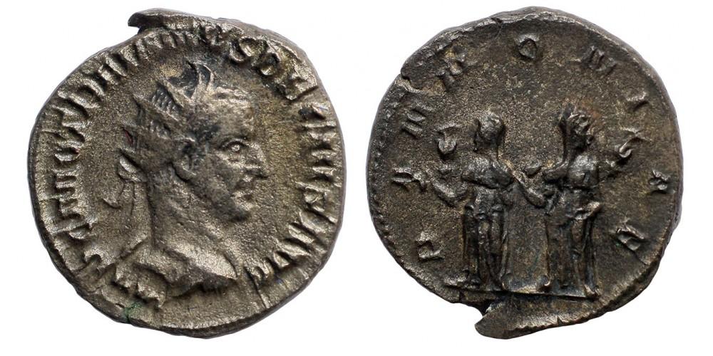Római Birodalom Traianus Decius 249-251 antoninianus két Pannonia