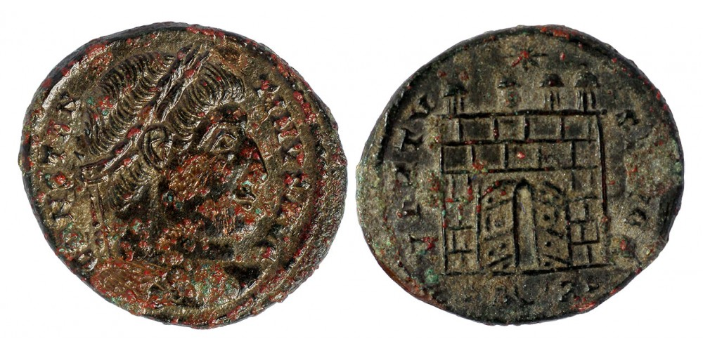 Római Birodalom Nagy Konstantin 307-337 follis nyitott táborkapu R!