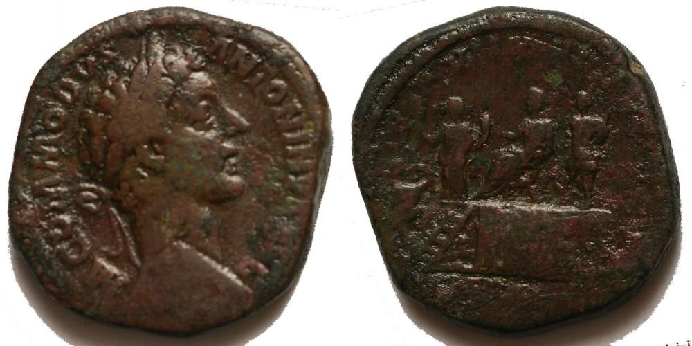 Római Birodalom Commodus 177-192 sestertius császár podiumon ül