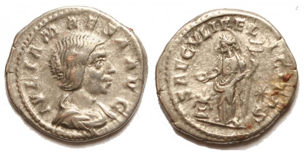 Római Birodalom Julia Maesa 218-224/5 denár Saeculi Felicitas
