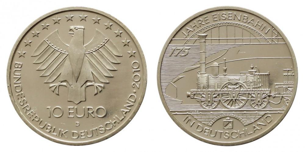 Németország 10 EURO 2010 PP Vasút 175.évf