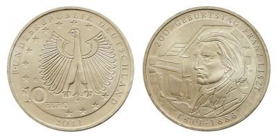 Németország 10 EURO 2011 BU  Liszt Ferenc