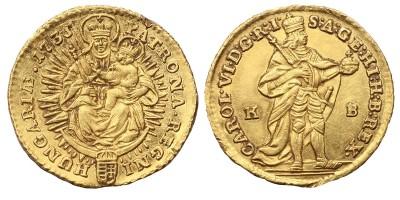 III.Károly dukát 1735 KB.
