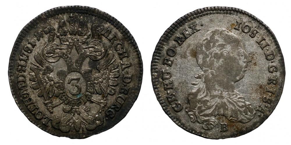 II.József 3 karjcár 1781 B R!