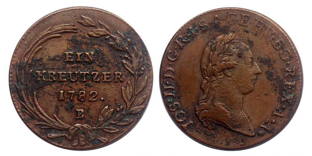 II.József krajcár 1782 B