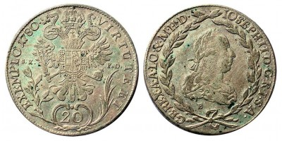 II.József 20 krajcár 1780 S.K.P-D/B