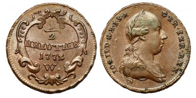 II.József 1/2 krajcár 1772 W