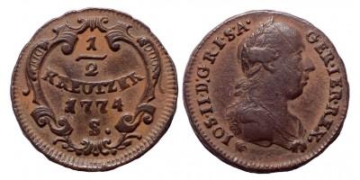 II.József 1/2  krajcár 1774 S