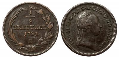 II.József 1/2 krajcár 1781 B