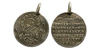 II.Ferdinánd koronázási zseton 1618 Pozsony