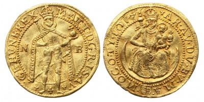 II.Mátyás dukát 1617 NB. RR!