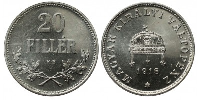 IV.Károly 20 Fillér 1918 Artex