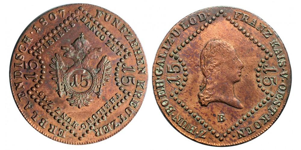 I.Ferenc 15 krajcár 1807 B