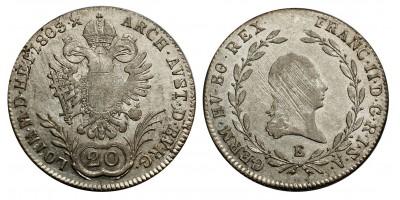 I.Ferenc 20 krajcár 1803 E
