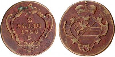 Gorizia I.Ferenc  2 soldi 1799 S Szomolnok