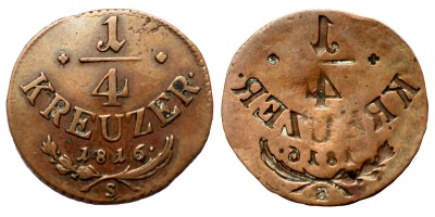 I.Ferenc 1/4 krajcár 1816 S incuse veret