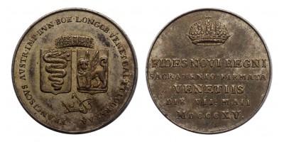 I.Ferenc Velence hódolata ezüst zseton 1815