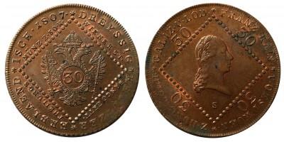 I.Ferenc 30 krajcár 1807 S