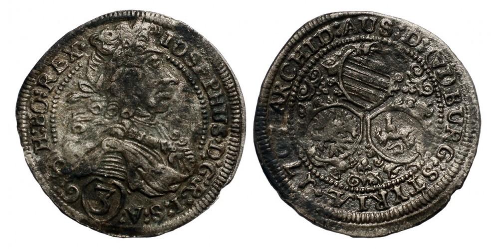 I.József 3 krajcár 1707 Graz