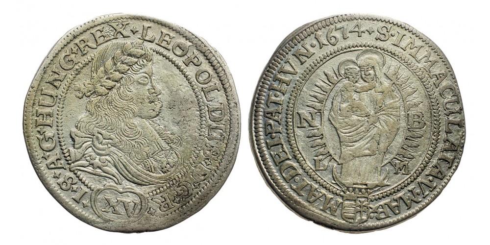I.Lipót 15 krajcár 1674 Nagybanya