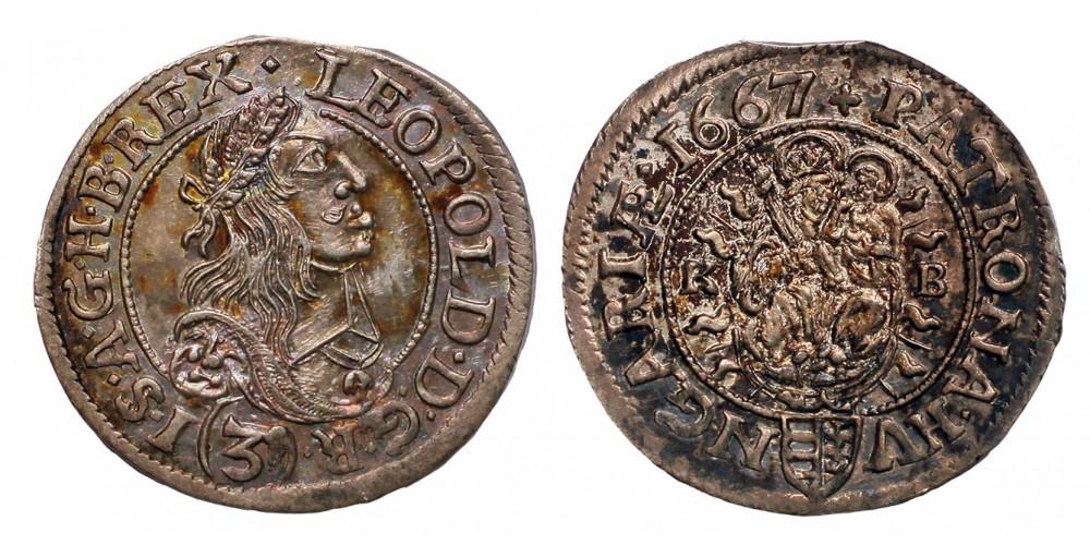 I.Lipót 3 krajcár 1667 KB.