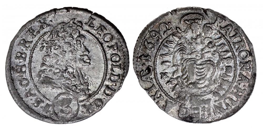 I. Lipót 3 krajcár 1692 KB