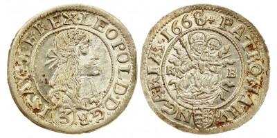 I.Lipót 3 krajcár 1668 KB.