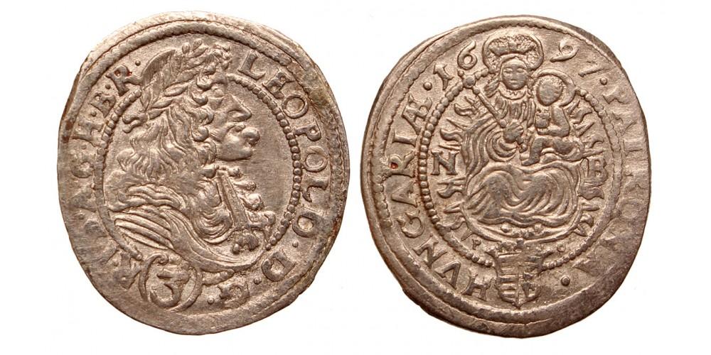 I.Lipót 3 krajcár 1697 NB R!