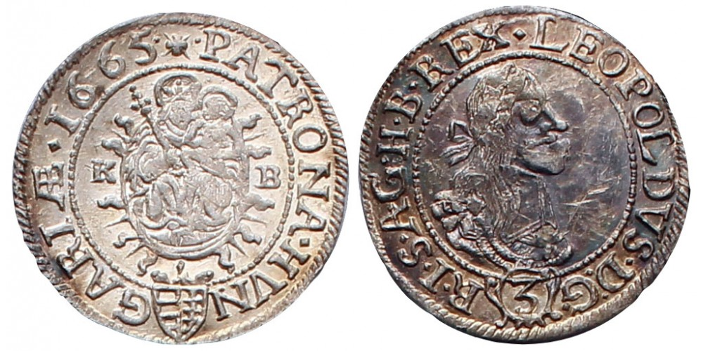 I.Lipót 3 krajcár 1665 KB