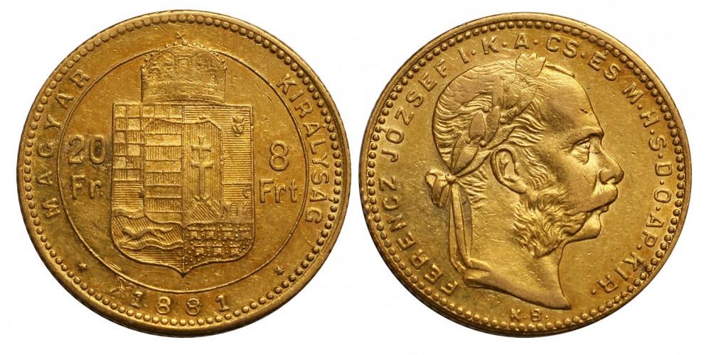 Ferenc József 8 Forint 1881 KB