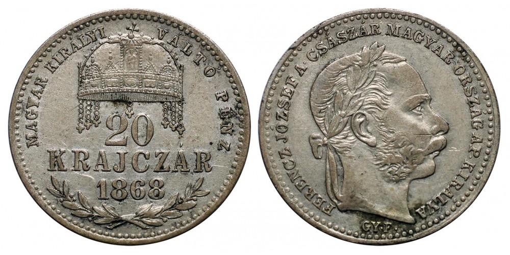 Ferenc József 20 krajcár 1868 GYF.
