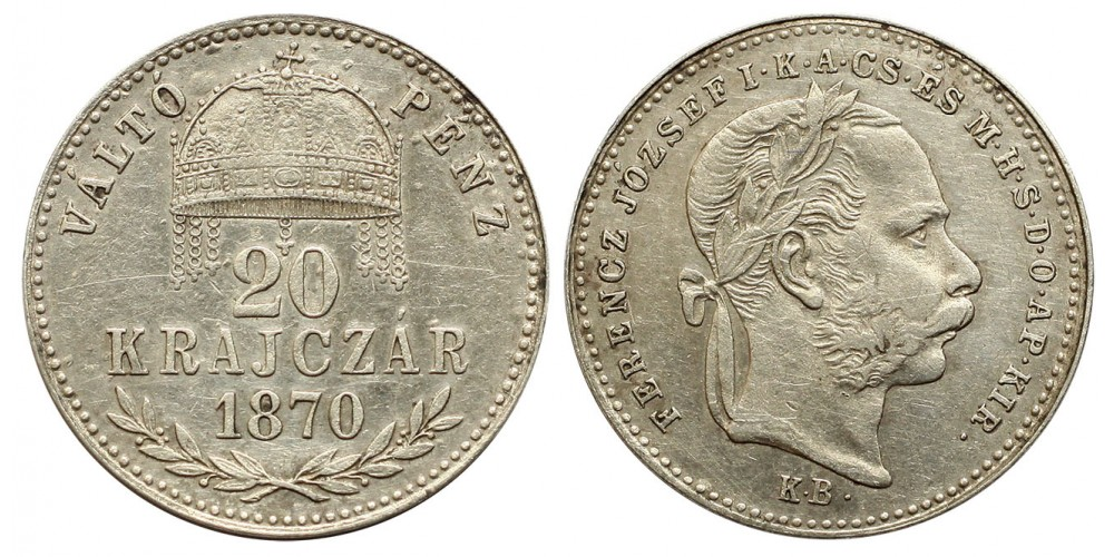 Ferenc József 20 krajcár 1870 KB VP.
