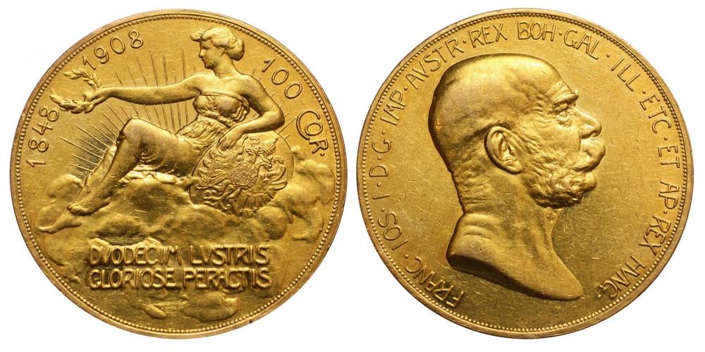 Ferenc József 100 korona 1908 jn. uralkodásának 60. évfordulójára