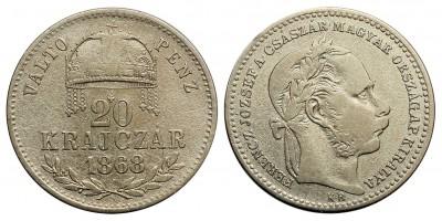 Ferenc József 20 krajcár 1868 KB. Váltó Pénz R