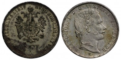 Ferenc József 1/4 florin 1859 E