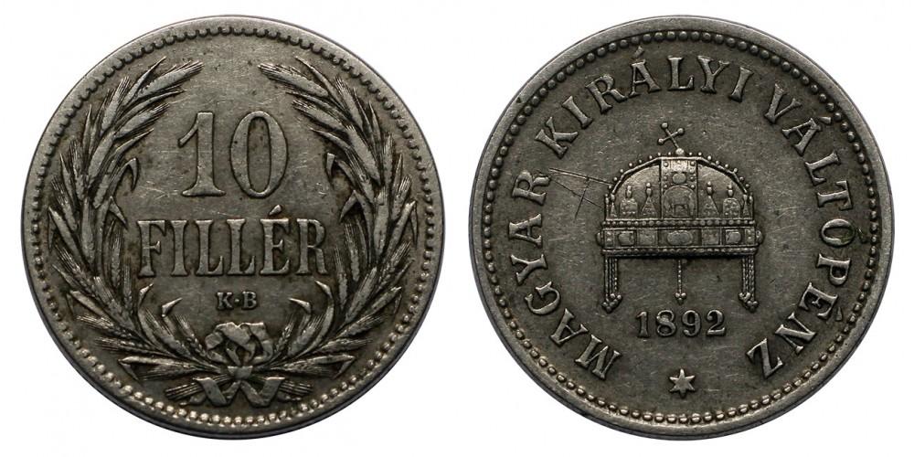 Ferenc József 10 fillér 1892 KB