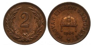 Ferenc József 2 fillér 1904 KB