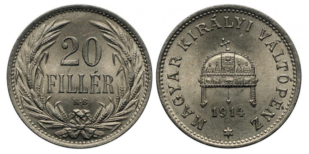 Ferenc József 20 fillér 1914 KB.