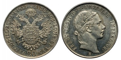 Ferenc József 20 krajcár 1854 B