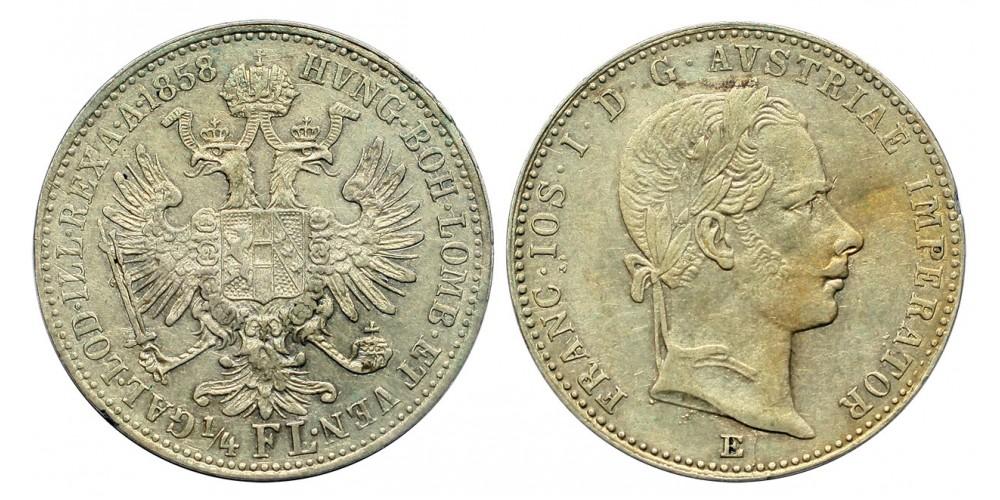 Ferenc József 1/4 florin 1858 E