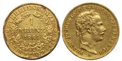 Ferenc József 1 vereinskrone 1861 A