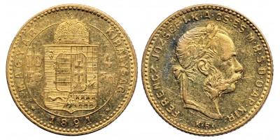 Ferenc József 4 forint 1891 KB Fiume