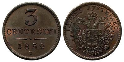 Lombardia-Velence 3 centesimi 1852 V