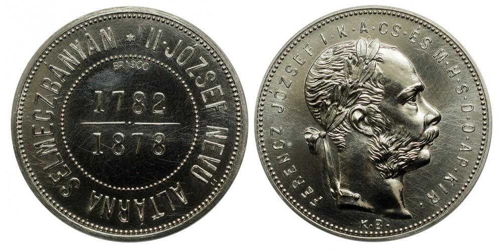 Ferenc József 1 forint 1878 KB Selmeczbánya ezüst utánveret