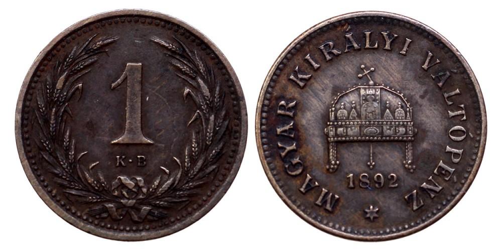 Ferenc József 1 fillér 1892 KB.