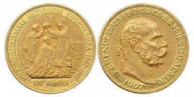 Ferenc József 100 Korona 1907 KB A Koronázás 40.évfordulójára