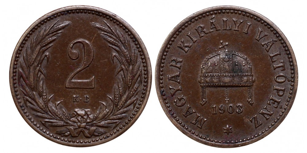 Ferenc József 2 fillér  1903 KB.
